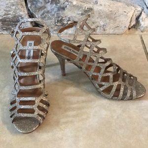 Steve Madden Gold Glitter Heels Size 7.5